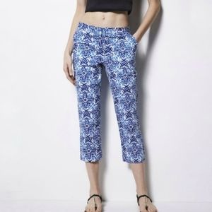 Milly for Designation Blue Printed Crop Pants